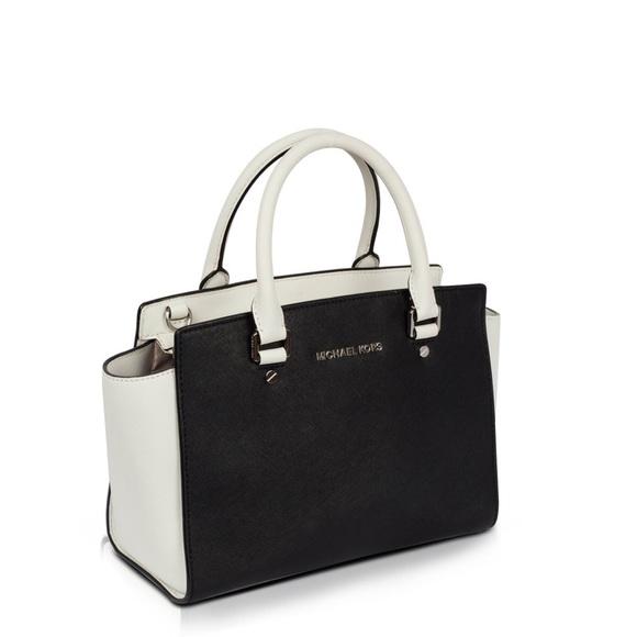 Michael Kors Selma black and white tote bag purse